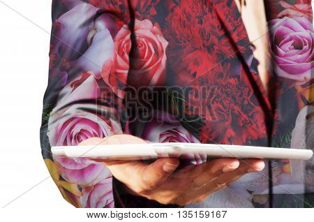 Double Exposure Of Businessman With Tablet Device And Bunch Of Flowers