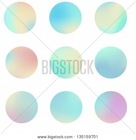 Holographic circles seamless pattern. Futuristic vector background.
