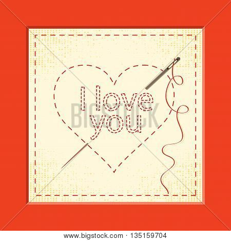 Card Valentines Day heart sign with embroidery and needle