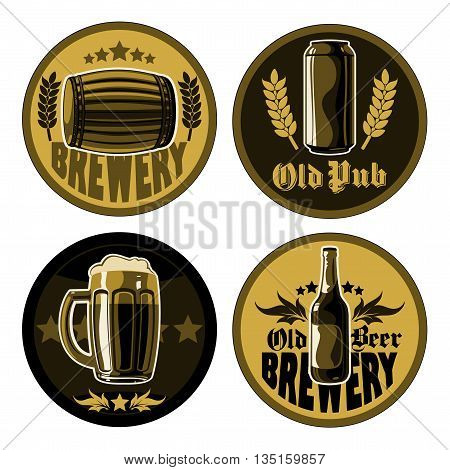 set of four coasters for beer mugs with different pattern