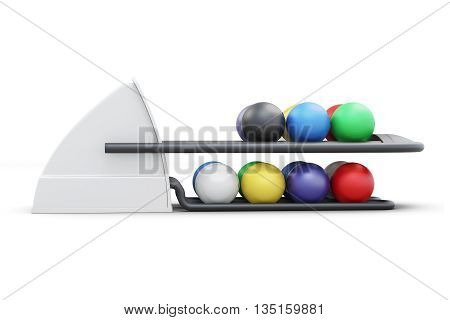Bowling ball return system side view isolated on a white background. 3d rendering.