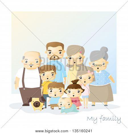 Cute family portrait Big family background, vector, illustration