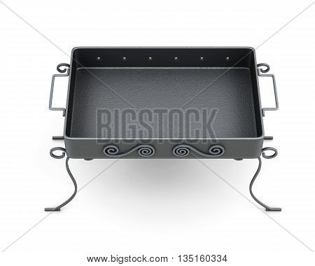 Top view barbecue grill isolated on white background. Forged elements, ornament. 3d rendering.