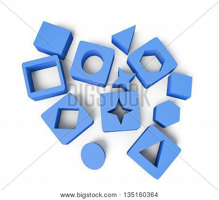 Blue cubes with geometric shapes isolated on white background. Educational blocks. Children's educational toys. 3d rendering
