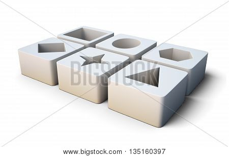 Set of educational white blocks  isolated on white background. With geometric shapes. Children's educational toys. 3d rendering