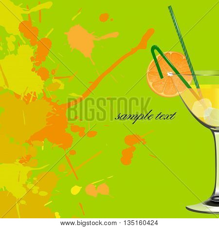 Orange cocktail. Refreshing drink. Green abstract background