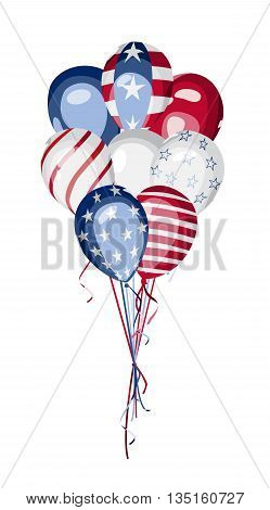 America National Holiday vector design element. Independence or presidents or memorial Day. 4th of July. Bunch of balloons with american flag elements. USA national celebration vector design.
