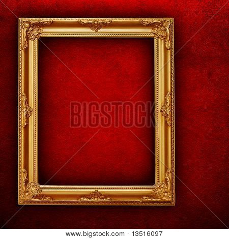 picture frame on red paint wall