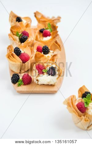 Homemade Filo Pastry Baskets With Mascarpone Cream And Berries