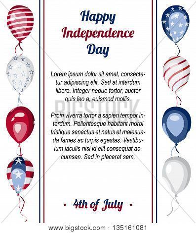 Happy USA Independence Day vector celebration poster. Flag of America on balloons. 4th of July greeting card. National american holiday background.