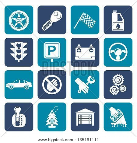 Flat Car and transportation icons - vector icon set