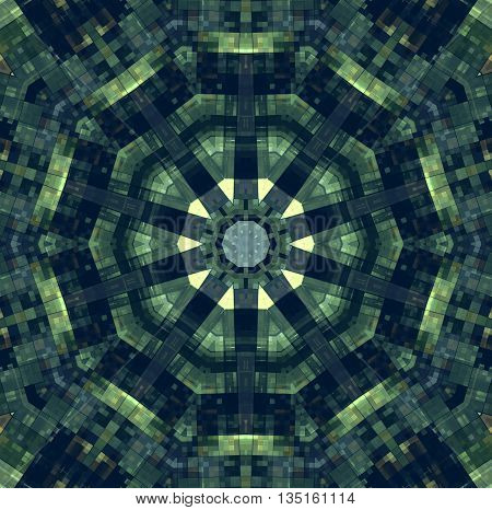 Background with abstract green checkered concentric pattern
