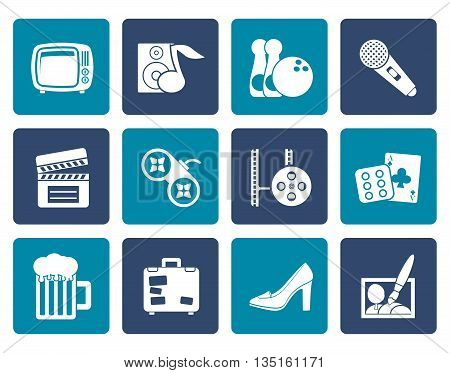 Flat Leisure activity and objects icons - vector icon set
