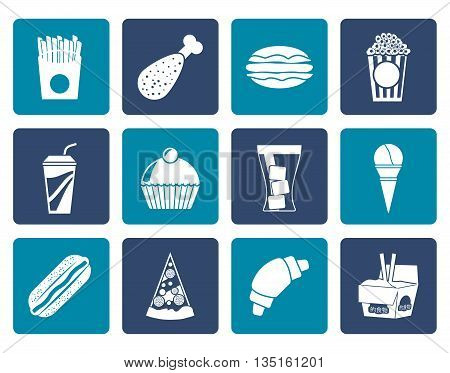 Flat fast food and drink icons - vector icon set