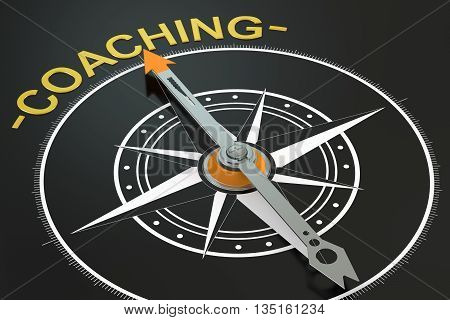 Coaching compass concept 3D rendering on black background