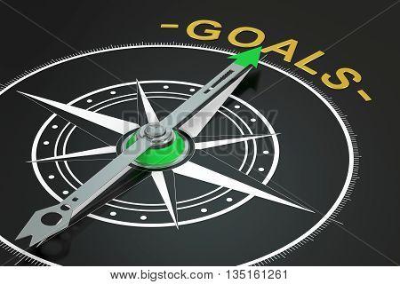 Goals compass concept 3D rendering on black background