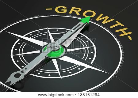 Growth compass concept 3D rendering on black background