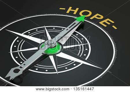 Hope compass concept 3D rendering on black background