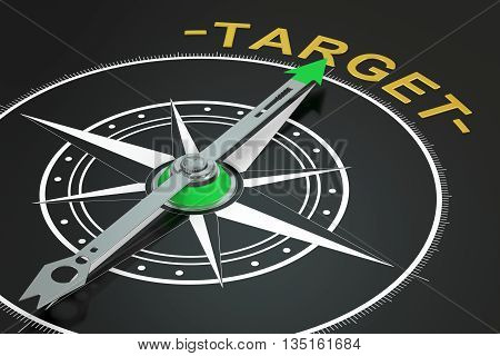 Target compass concept 3D rendering on black background