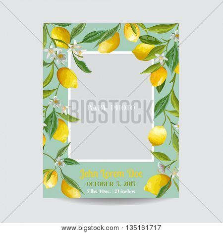 Baby Arrival or Shower Card - with Photo Frame and Floral Lemon Blossom Design - in vector