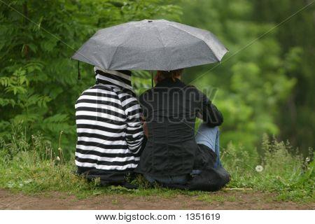 Girlfriends Under A Umbrella