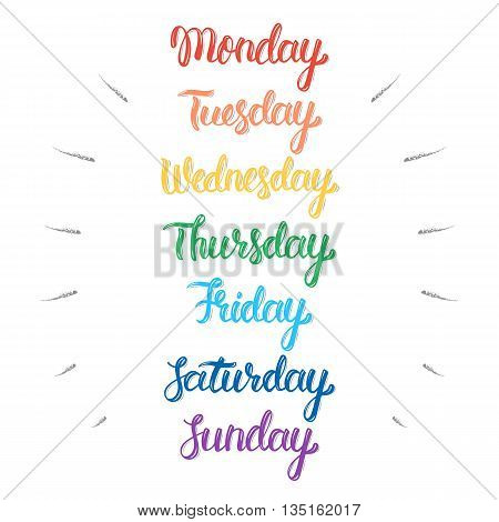 Handwritten days of the week. Calligraphic isolated set in colorful ink. Vector illustration