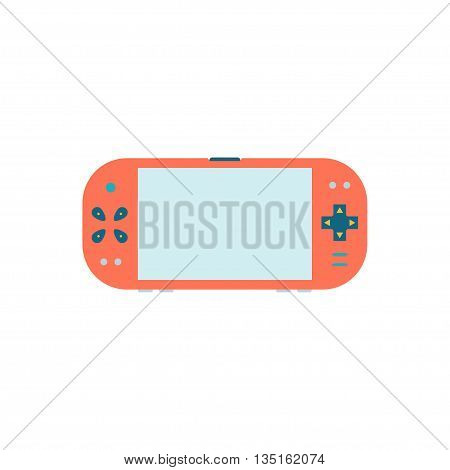 Game gadget . Handheld game console icon. Vector illustration Isolated on white background. Gamepad flat Icon. Blank screen.