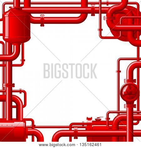 Red gas pipes. Industrial frame and background with pipes. Vector Illustration