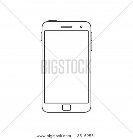 Vector Illustration of a mobile Phone icon. Isolated on White background. Smart Phone over White. Blank Screen.