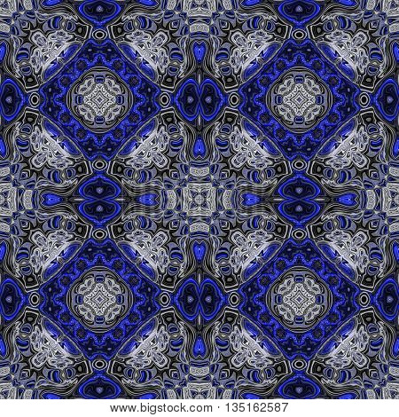 Abstract decorative blue and silver texture - kaleidoscope pattern