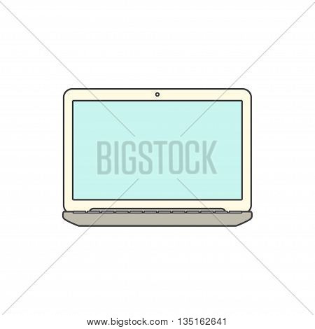 Vector Illustration of a Laptop with blank Screen. Isolated on White background. Laptop flat icon. Laptop over White.