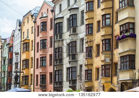 INNSBRUCK AUSTRIA - 18TH JUNE 2016: Buildings along the Herzog Friedrich Strasse in central Innsbruck