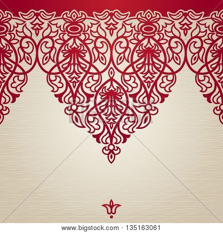 Vector seamless border in Victorian style. Element for design. Place for your text. Red pattern. It can be used for decorating of wedding invitations greeting cards decoration for bags and clothes.