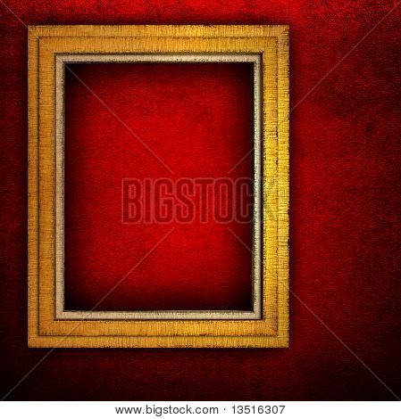 wooden frame on red paint wall