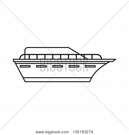 Powerboat icon in outline style isolated on white background. Sea transport symbol