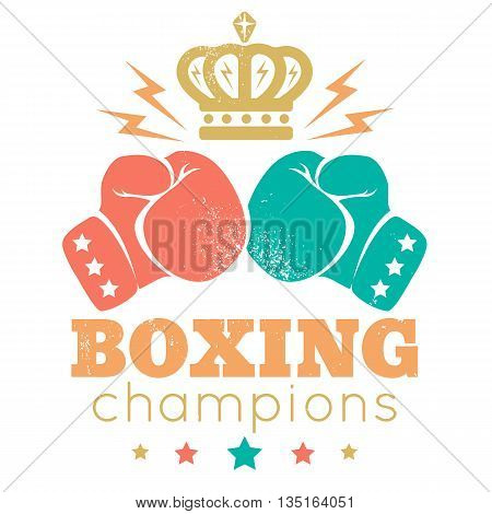 Vintage sport logo for a boxing with gloves and crown