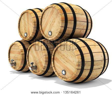 3D Wine Barrel Stack