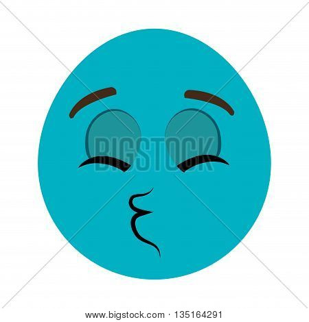 blue cartoon orbed face with closed eyes  and mouth wink over isolated background, vector illustration