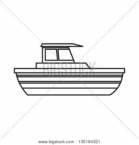 Motor boat icon in outline style isolated on white background. Sea transport symbol