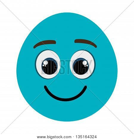 blue cartoon orbed face  smiling with black and blue eyes over isolated background, vector illustration