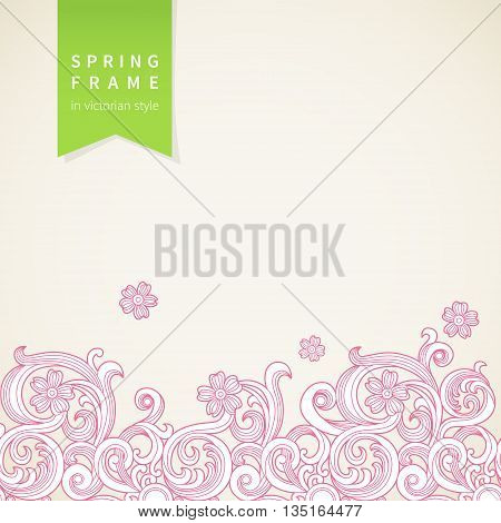 Vector spring floral pattern in Victorian style. Element for design. Ornamental background. It can be used for decorating of wedding invitations greeting cards decoration for bags and clothes.