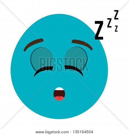 blue cartoon orbed face with sleepy expression over isolated background, vector illustration