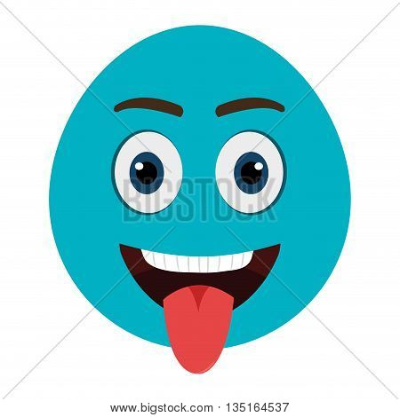 blue cartoon orbed face  with open mouth and red tongue over isolated bakcground, vector illustration