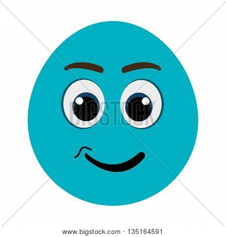 blue cartoon orbed face   with black and blue eyes and back mouth and eyebrows over isolated background, vector illustration