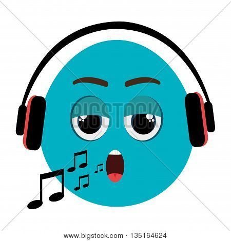 blue cartoon orbed face singing with musical notes and headphones over isolated background, vector illustration