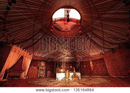 TURKESTAN, KAZAKHSTAN - AUGUST 29, 2015: Interior of a nomadic tent known as yurt.