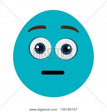 blue cartoon face with open eyes and surprised expression over isolated background, vector illustration