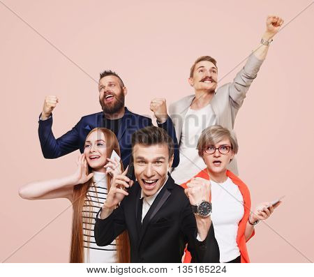 Group of happy people call cell phones and celebrate news of win prize, success. Connection, communication. Buyers, discount and sale. Emotional men and women with devices, shopping, mobile app.