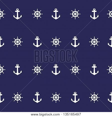 Nautical Indigo Blue & White seamless pattern with Anchor vector background.
