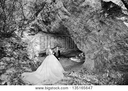 Charming Bride And Elegant Groom On Landscapes Of Mountains, Near Cave With Yellow Trees
